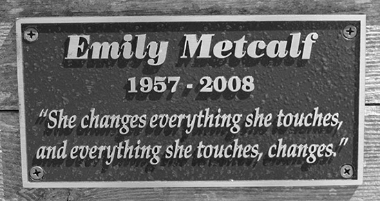 Plaque in Memory of Emily Metcalf