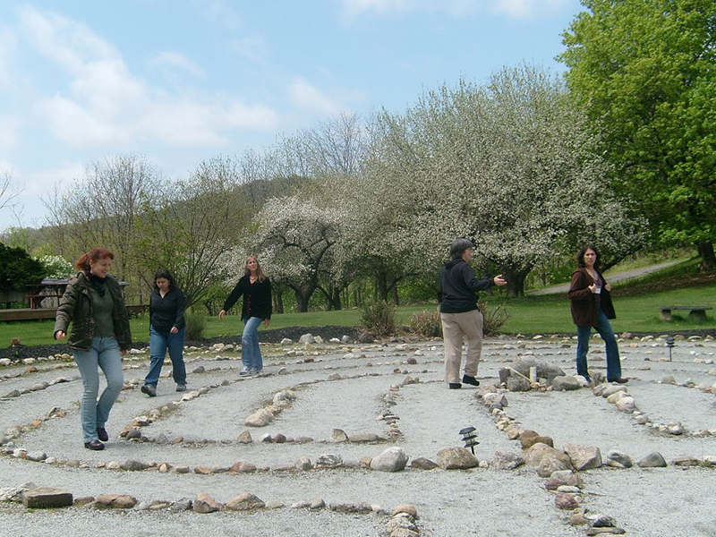 Graduates Walking Labyrinth