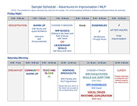 Adventures in Improvisation - Sample Schedule